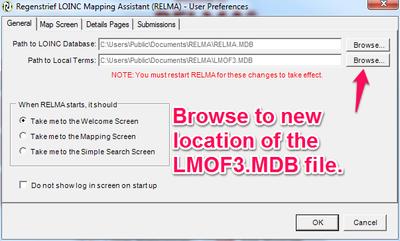 Choosing your local term file (LMOF3.MDB)