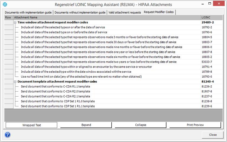 RELMA Request Modifier Codes
