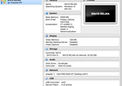 VirtualBox Manager window