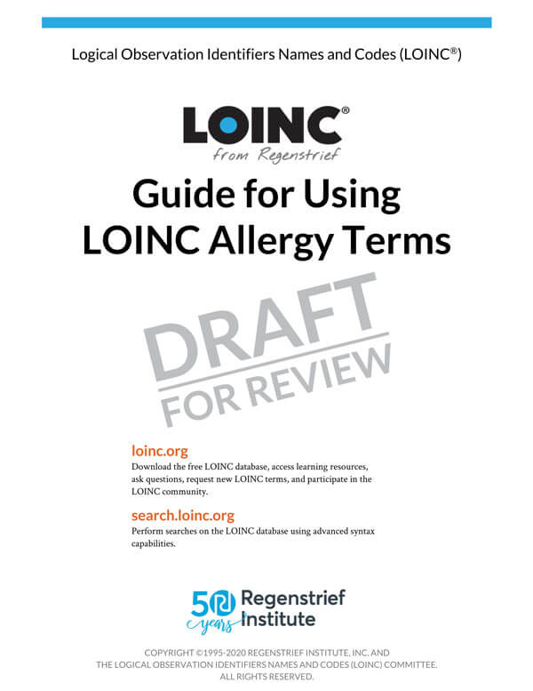Guide for Using LOINC Allergy Terms