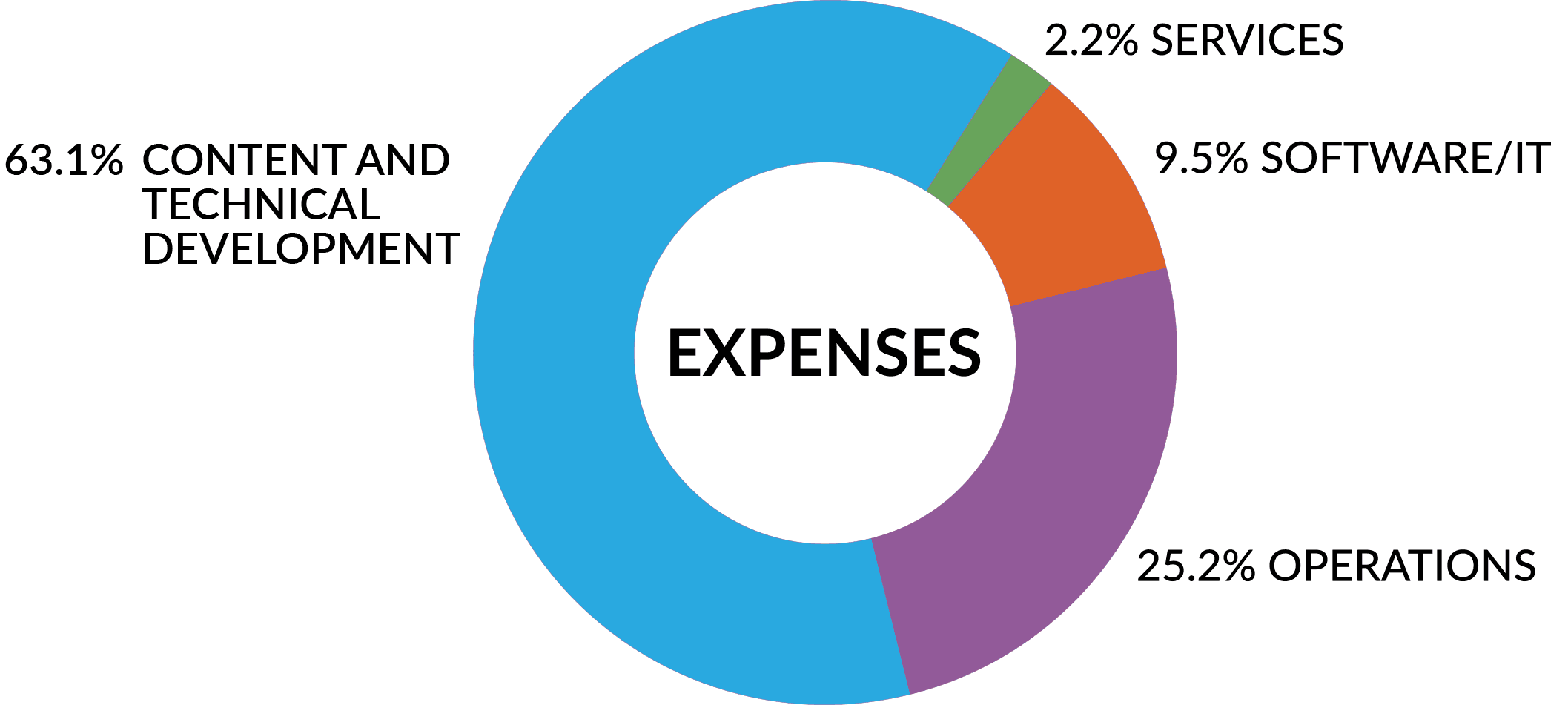 Pie chart detailing LOINC expenses in 2020