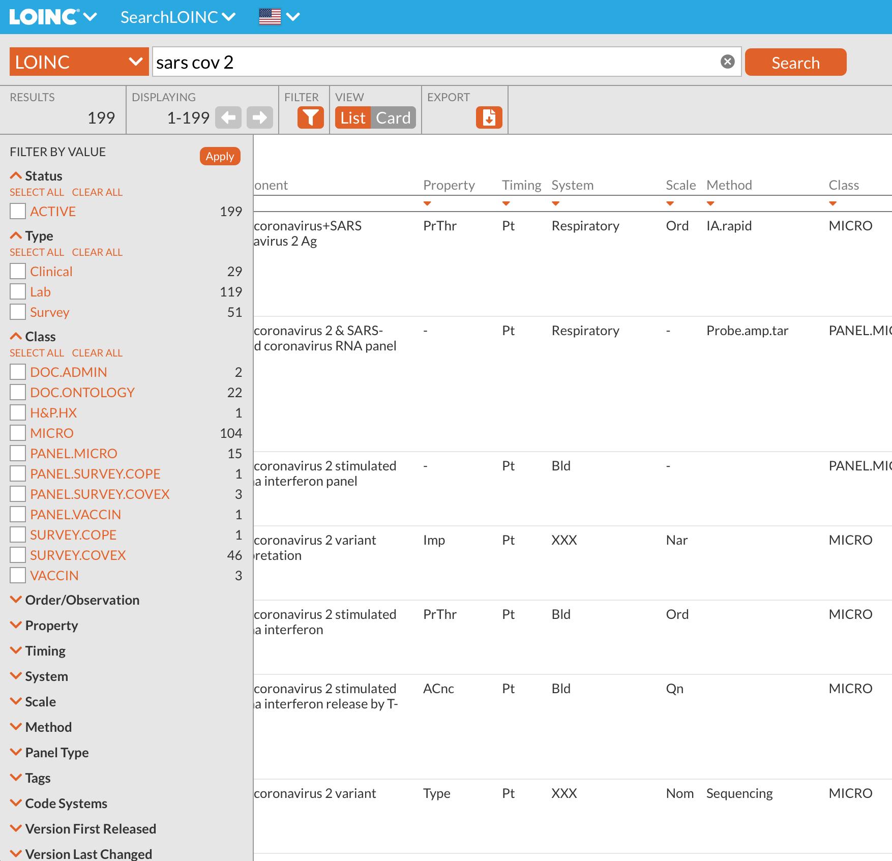 SearchLOINC filters menu